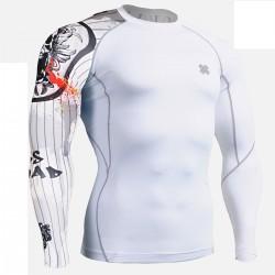 """Pinstripe Skull"" - FIXGEAR Second Skin Technical Compression Shirt."