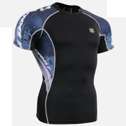 """""""Waves"""" - FIXGEAR Short Sleeve Second Skin Technical Compression Shirt."""