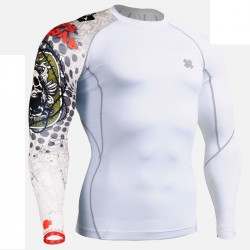 """""""Thorned Skull"""" White - FIXGEAR Second Skin Technical Compression Shirt ."""