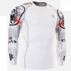 """Duo Pinstripe Skull"" - FIXGEAR Second Skin Technical Compression Shirt."