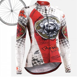 """Thorned Skull"" WOMAN - FIXGEAR Long Sleeve Cycling Jersey."