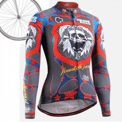 """Skull Star"" WOMAN - FIXGEAR Long Sleeve Cycling Jersey."