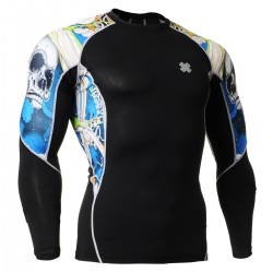"""""""The Skeleton"""" Blue - FIXGEAR Second Skin Technical Compression Shirt."""