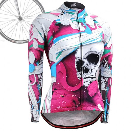 """""""The Skeleton"""" Pink - WOMAN - FIXGEAR Long Sleeve Cycling Jersey."""