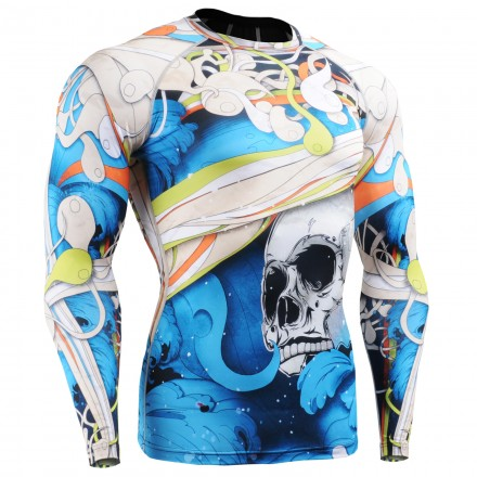 """""""The Skeleton"""" Full Blue - FIXGEAR Second Skin Technical Compression Shirt."""