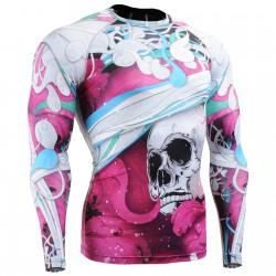 """El Esqueleto"" Full Rosa - Camiseta Técnica de Compresión Segunda Piel FIXGEAR."
