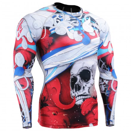 """""""The Skeleton"""" Full Red - FIXGEAR Second Skin Technical Compression Shirt."""