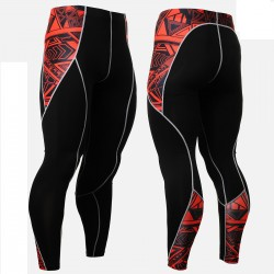 """Red Geometry"" - FIXGEAR Second Skin Technical Compression Tights ."