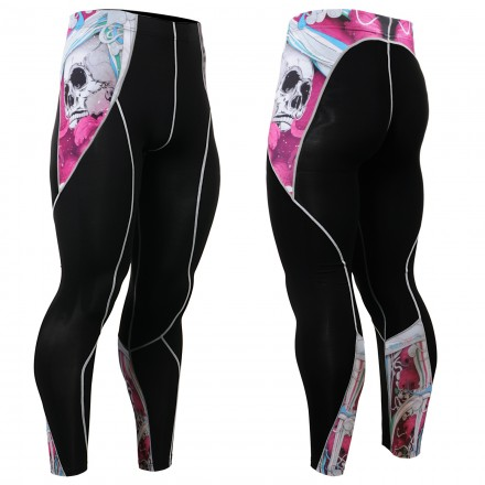 """""""The Skeleton"""" Pink - FIXGEAR Second Skin Technical Compression Tights ."""