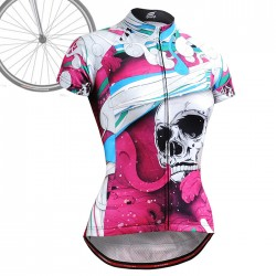 """The Skeleton"" Pink - WOMAN - FIXGEAR Short Sleeve Cycling Jersey."
