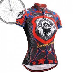 """Skull Star"" WOMAN - FIXGEAR Short Sleeve Cycling Jersey."