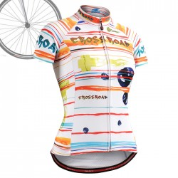 """Ribbons & Flames"" WOMAN - FIXGEAR Short Sleeve Cycling Jersey."