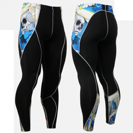 """""""The Skeleton"""" Blue - FIXGEAR Second Skin Technical Compression Tights ."""