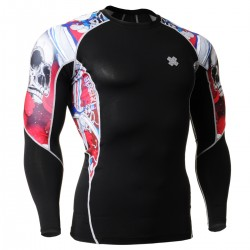 """""""The Skeleton"""" Red - FIXGEAR Second Skin Technical Compression Shirt."""