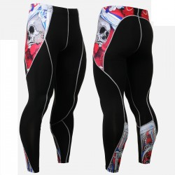 """""""The Skeleton"""" Red - FIXGEAR Second Skin Technical Compression Tights ."""