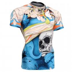 """El Esqueleto"" Full Azul Manga Corta - Camiseta Técnica de Compresión Segunda Piel FIXGEAR."