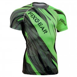 """Splinters"" FULL Green - FIXGEAR Short Sleeve Technical Compression Shirt ."