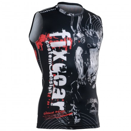 """""""Time Skull"""" Sleeveless - FIXGEAR Second Skin Technical Compression Shirt ."""