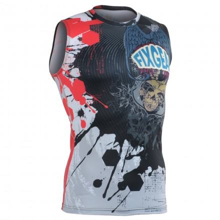 """""""The Comic"""" Sleeveless - FIXGEAR Second Skin Technical Compression Shirt ."""