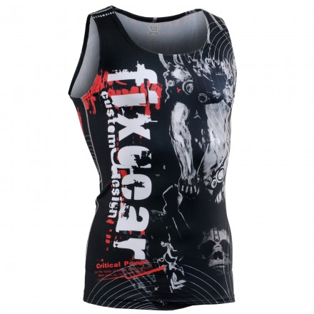 """""""Time Skull"""" Tank Top - FIXGEAR Second Skin Technical Compression Shirt ."""